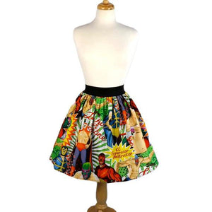 Hemet Pleated Skirt in Lucha Libre Folklorico-Skirts-Glitz Glam and Rebellion GGR Pinup, Retro, and Rockabilly Fashions