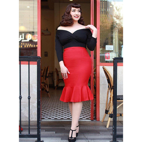 Hemet Mermaid Wiggle Skirt in Red-Skirts-Glitz Glam and Rebellion GGR Pinup, Retro, and Rockabilly Fashions