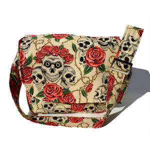Hemet Skulls & Roses Messenger Bag in Beige-Purses-Glitz Glam and Rebellion GGR Pinup, Retro, and Rockabilly Fashions