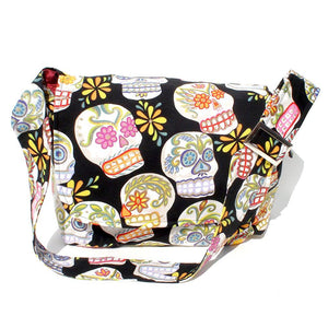 Hemet Sugar Skull Messenger Bag-Purses-Glitz Glam and Rebellion GGR Pinup, Retro, and Rockabilly Fashions