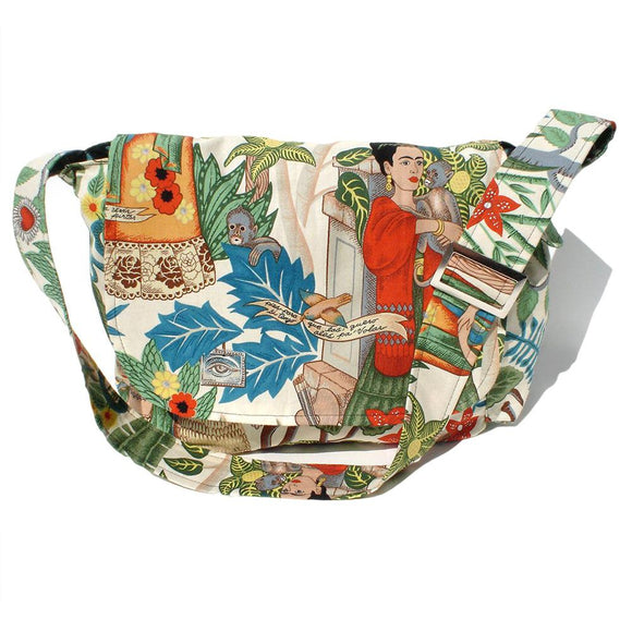 Hemet Tropical Frida Messenger Bag in Beige-Purses-Glitz Glam and Rebellion GGR Pinup, Retro, and Rockabilly Fashions