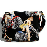 Hemet Motorcycle Pinup Messenger Bag-Purses-Glitz Glam and Rebellion GGR Pinup, Retro, and Rockabilly Fashions