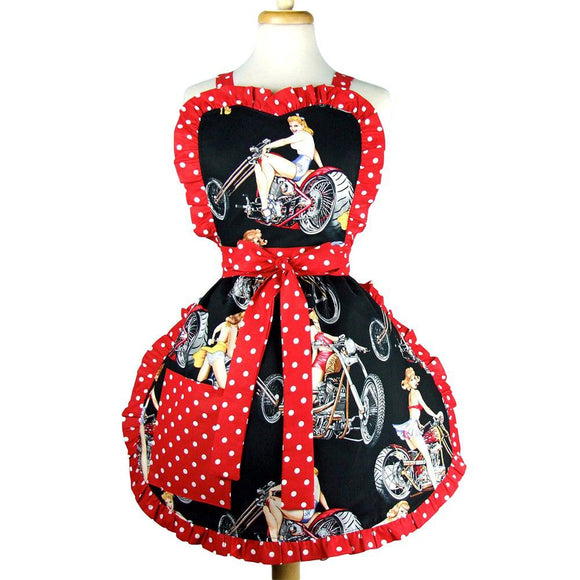 Hemet Motorcycles & Pinups Apron-Pinup Aprons-Glitz Glam and Rebellion GGR Pinup, Retro, and Rockabilly Fashions