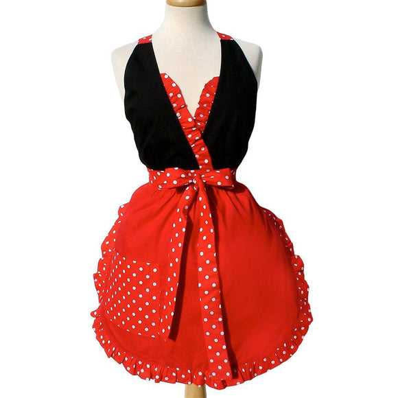 Hemet Ruffled Minnie Apron in Red & Black-Pinup Aprons-Glitz Glam and Rebellion GGR Pinup, Retro, and Rockabilly Fashions