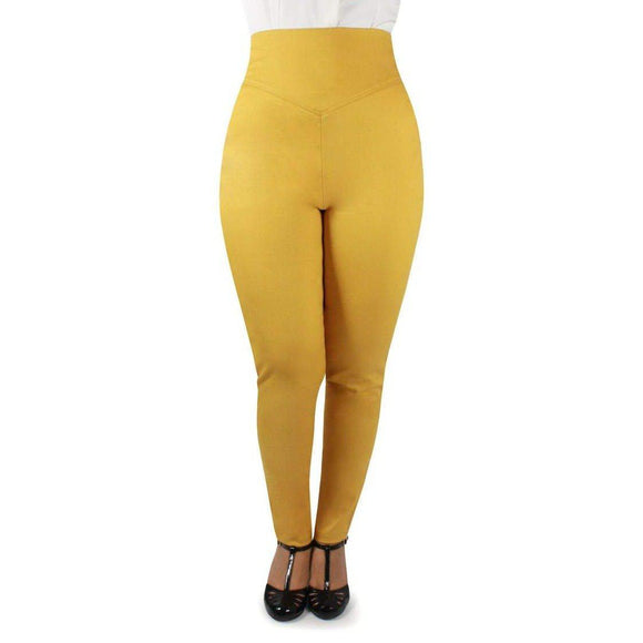 Hemet High Waist Cigarette Pants in Mustard-Pants-Glitz Glam and Rebellion GGR Pinup, Retro, and Rockabilly Fashions
