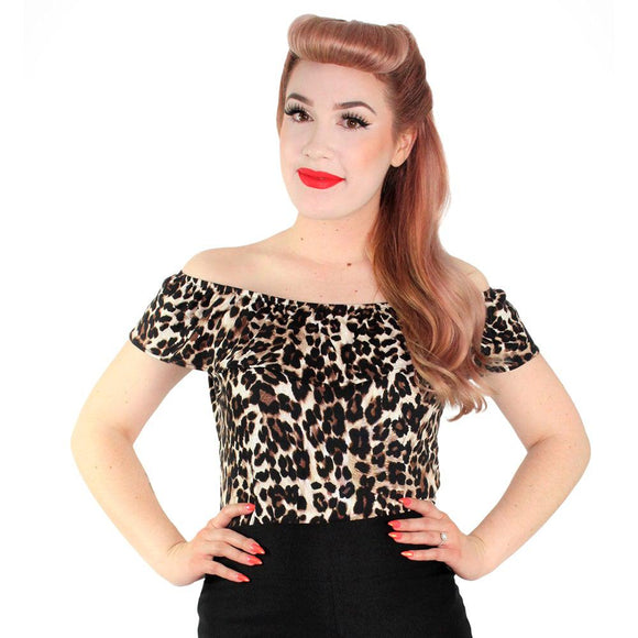 Hemet Off-Shoulder Senorita Top in Leopard Print-Top-Glitz Glam and Rebellion GGR Pinup, Retro, and Rockabilly Fashions