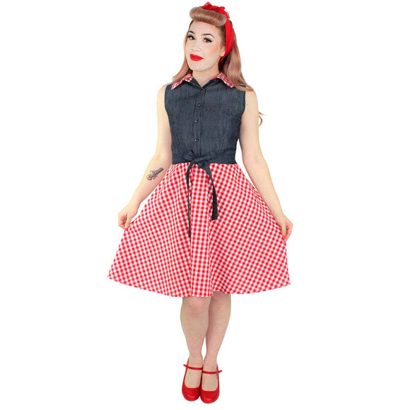 Hemet Picnic Dress in Denim & Red Gingham-Dress-Glitz Glam and Rebellion GGR Pinup, Retro, and Rockabilly Fashions