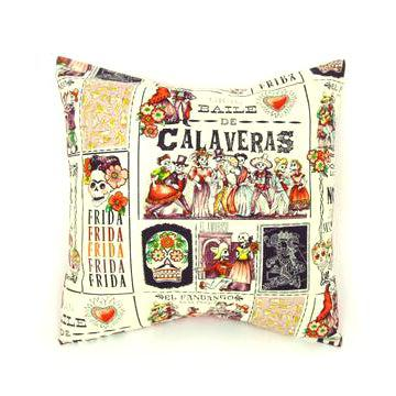 Hemet Pillow Cover in Baile de Calaveras-Pillow Cover-Glitz Glam and Rebellion GGR Pinup, Retro, and Rockabilly Fashions