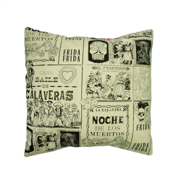 Hemet Pillow Cover in Calavera Skulls-Pillow Cover-Glitz Glam and Rebellion GGR Pinup, Retro, and Rockabilly Fashions
