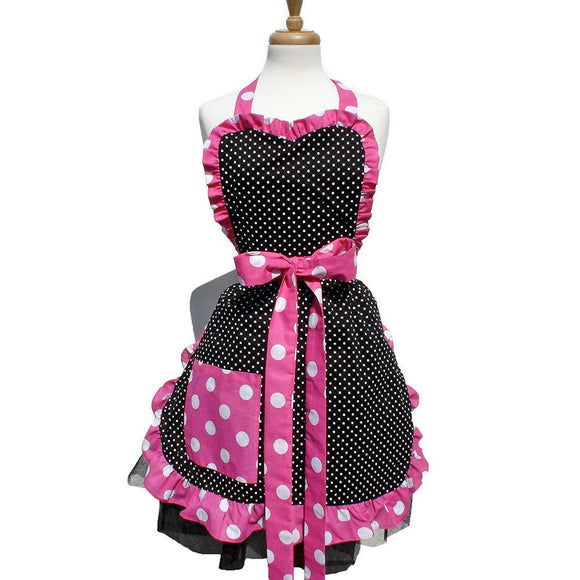 Hemet Pink & Black Polka Dot Apron-Pinup Aprons-Glitz Glam and Rebellion GGR Pinup, Retro, and Rockabilly Fashions
