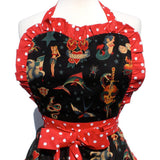 Hemet Vintage Tattoo Art Apron in Black-Pinup Aprons-Glitz Glam and Rebellion GGR Pinup, Retro, and Rockabilly Fashions