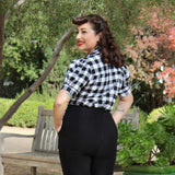Hemet Holiday Pinup Top in White Plaid-Top-Glitz Glam and Rebellion GGR Pinup, Retro, and Rockabilly Fashions