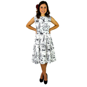 Hemet Swing Dress in Paseo de Muertos Print-Dress-Glitz Glam and Rebellion GGR Pinup, Retro, and Rockabilly Fashions