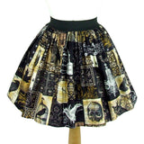 Hemet Pleated Skirt in Edgar Allan Poe Print-Skirts-Glitz Glam and Rebellion GGR Pinup, Retro, and Rockabilly Fashions