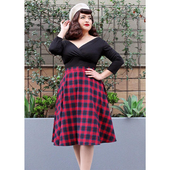Hemet Red Plaid Circle Skirt-Skirts-Glitz Glam and Rebellion GGR Pinup, Retro, and Rockabilly Fashions