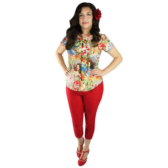Hemet Senorita Snap Blouse-Top-Glitz Glam and Rebellion GGR Pinup, Retro, and Rockabilly Fashions