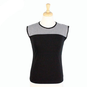Hemet Contrast Yoke Top in Black & White Gingham-Top-Glitz Glam and Rebellion GGR Pinup, Retro, and Rockabilly Fashions