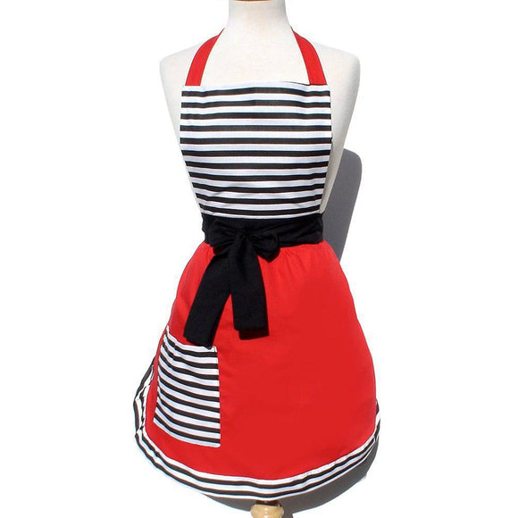 Hemet Chic Stripes & Red Apron-Pinup Aprons-Glitz Glam and Rebellion GGR Pinup, Retro, and Rockabilly Fashions