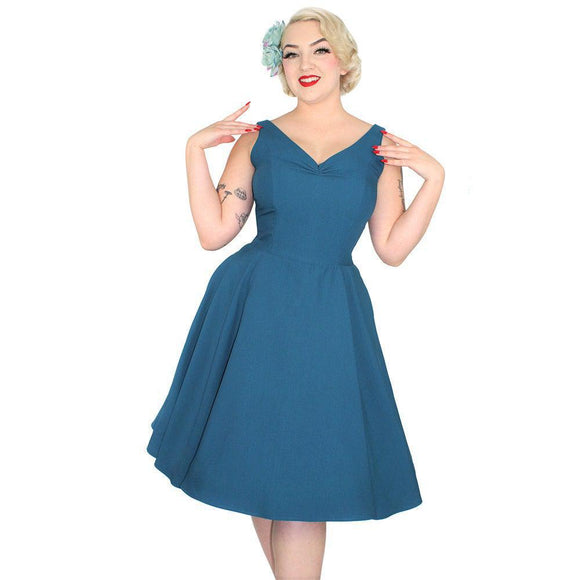Hemet Teal Appeal Swing Dress-Dress-Glitz Glam and Rebellion GGR Pinup, Retro, and Rockabilly Fashions