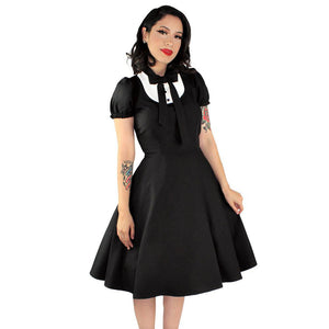 Hemet Tuxedo Circle Dress-Dress-Glitz Glam and Rebellion GGR Pinup, Retro, and Rockabilly Fashions