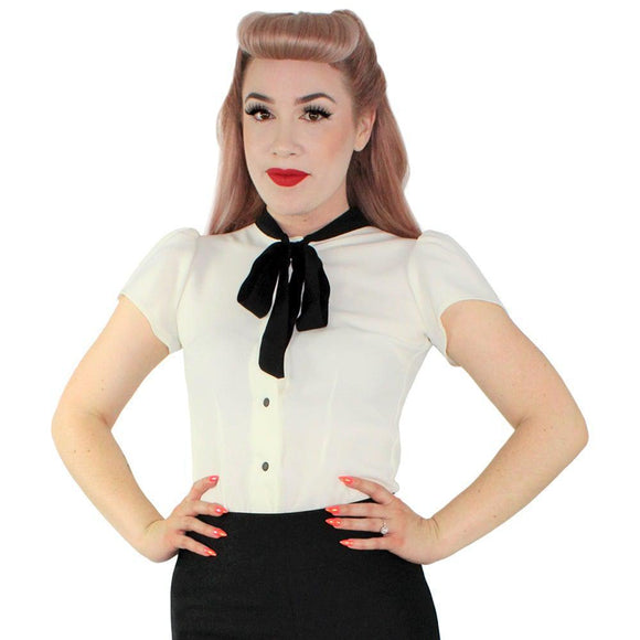 Hemet Snap-Front Bow Blouse in Off-White-Top-Glitz Glam and Rebellion GGR Pinup, Retro, and Rockabilly Fashions