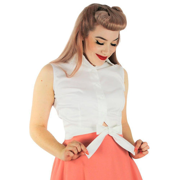 Hemet Sleeveless Knotted Top in White-Top-Glitz Glam and Rebellion GGR Pinup, Retro, and Rockabilly Fashions