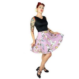 Hemet Zombie Pinup Dress in Lavender & Black-Dress-Glitz Glam and Rebellion GGR Pinup, Retro, and Rockabilly Fashions