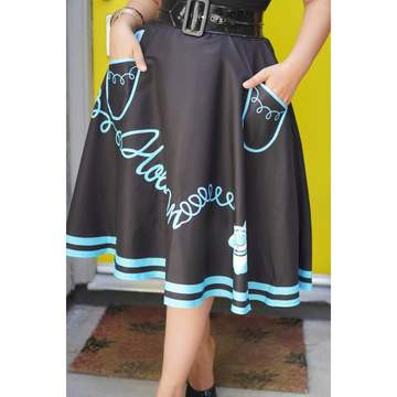 Kissing Charlie Hold On Circle Skirt in Blue and Black-Skirts-Glitz Glam and Rebellion GGR Pinup, Retro, and Rockabilly Fashions