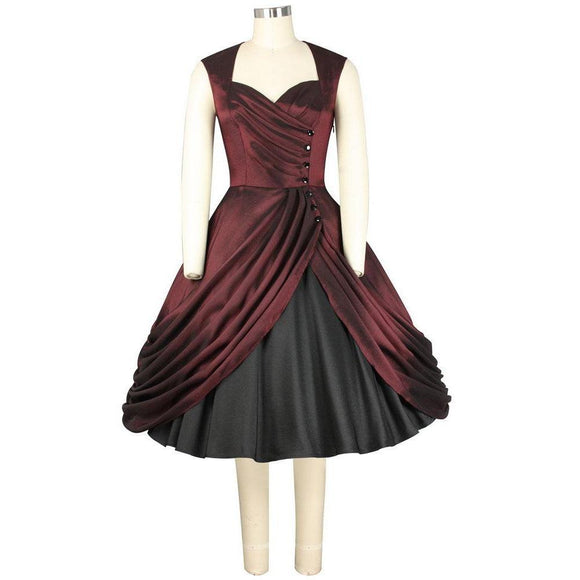 GGR Night at the Opera Dress in Oxblood Red-Dress-Glitz Glam and Rebellion GGR Pinup, Retro, and Rockabilly Fashions