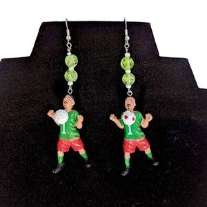 Homies Green Soccer Earrings-Aye Que Chula-Glitz Glam and Rebellion GGR Pinup, Retro, and Rockabilly Fashions