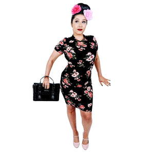 GGR Wiggle Dress In Pink Daisies on Black-Wiggle Dress-Glitz Glam and Rebellion GGR Pinup, Retro, and Rockabilly Fashions