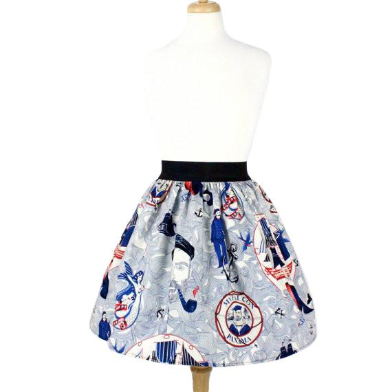 Hemet Pleated Skirt in Lost at Sea Print-Skirts-Glitz Glam and Rebellion GGR Pinup, Retro, and Rockabilly Fashions