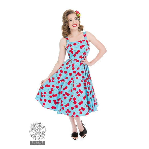 H&R London Martina Cherry Print Sundress-Swing Dress-Glitz Glam and Rebellion GGR Pinup, Retro, and Rockabilly Fashions