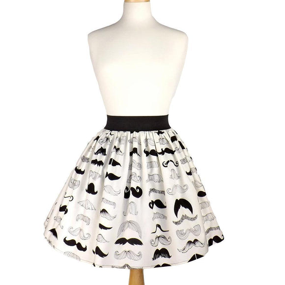 Hemet Pleated Skirt in Mustache Print-Skirts-Glitz Glam and Rebellion GGR Pinup, Retro, and Rockabilly Fashions