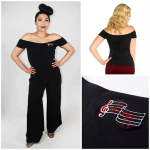 GGR Black Music Note Off-Shoulder Top-Top-Glitz Glam and Rebellion GGR Pinup, Retro, and Rockabilly Fashions