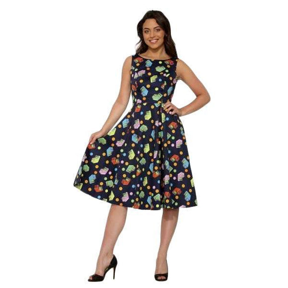H&R London Navy Arcade Amusement Swing Dress-Dress-Glitz Glam and Rebellion GGR Pinup, Retro, and Rockabilly Fashions