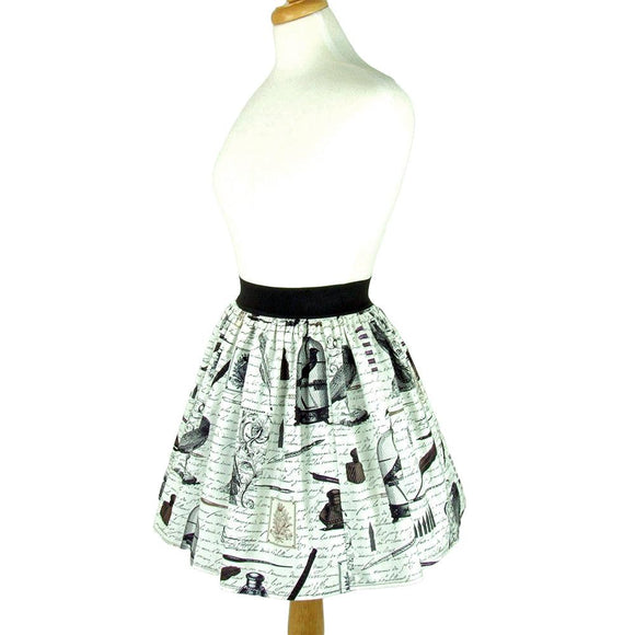 Hemet Pleated Skirt in Nevermore-Skirts-Glitz Glam and Rebellion GGR Pinup, Retro, and Rockabilly Fashions