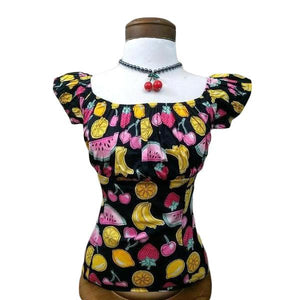 GGR Pinup Peasant Top in Summer Fruit Print-Blouse-Glitz Glam and Rebellion GGR Pinup, Retro, and Rockabilly Fashions