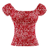 GGR Pinup Peasant Top in Red Paisley-Blouse-Glitz Glam and Rebellion GGR Pinup, Retro, and Rockabilly Fashions