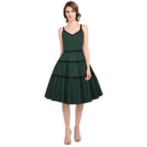 GGR Tiered Swing Dress in Green-Dress-Glitz Glam and Rebellion GGR Pinup, Retro, and Rockabilly Fashions