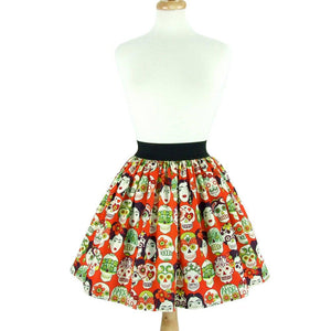 Hemet Pleated Skirt in Orange Frida Print-Skirts-Glitz Glam and Rebellion GGR Pinup, Retro, and Rockabilly Fashions