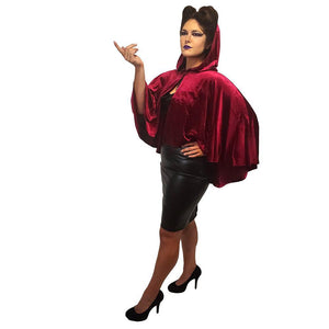 GGR Ox Blood Hooded Cape-Cape-Glitz Glam and Rebellion GGR Pinup, Retro, and Rockabilly Fashions