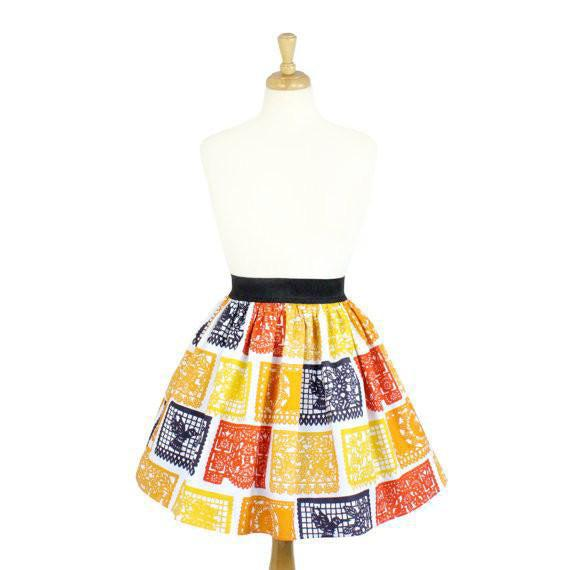 Hemet Pleated Skirt in Fiesta Print-Skirts-Glitz Glam and Rebellion GGR Pinup, Retro, and Rockabilly Fashions