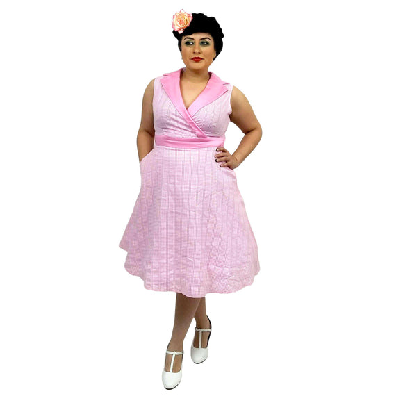 Banned Pink Gingham Grease Swing Dress-Dress-Glitz Glam and Rebellion GGR Pinup, Retro, and Rockabilly Fashions