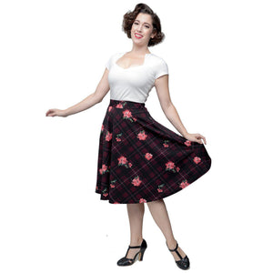 Steady Plaid on Parade Circle Skirt in Burgundy-Skirts-Glitz Glam and Rebellion GGR Pinup, Retro, and Rockabilly Fashions