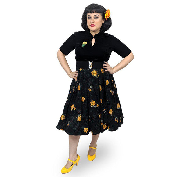 Steady Plaid on Parade Circle Skirt in Green-Skirts-Glitz Glam and Rebellion GGR Pinup, Retro, and Rockabilly Fashions