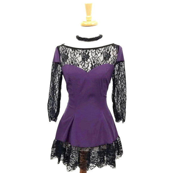 GGR Goth Glam Top in Purple and Black Lace-Top-Glitz Glam and Rebellion GGR Pinup, Retro, and Rockabilly Fashions