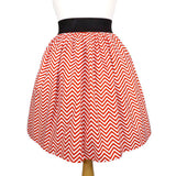 Hemet Pleated Skirt in Red & White Chevron Print-Skirts-Glitz Glam and Rebellion GGR Pinup, Retro, and Rockabilly Fashions
