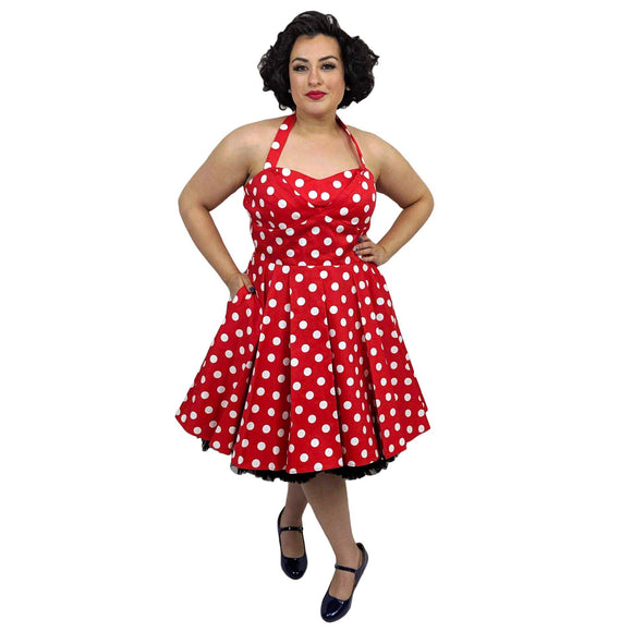 Eva Rose Red Hot Polkadot Dress-Dress-Glitz Glam and Rebellion GGR Pinup, Retro, and Rockabilly Fashions