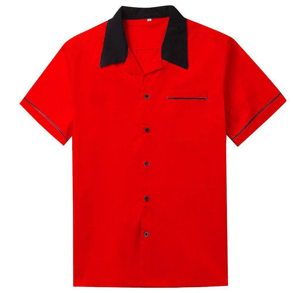 GGR Men's Bowling Shirt in Red and Black-Men's Bowling Shirt-Glitz Glam and Rebellion GGR Pinup, Retro, and Rockabilly Fashions
